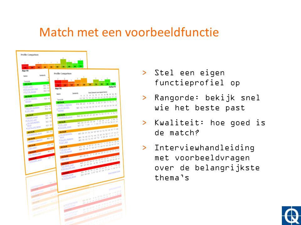Match met een voorbeeldfunctie >Stel een eigen functieprofiel op >Rangorde: bekijk snel wie het beste past >Kwaliteit: hoe goed is de match? >Intervie