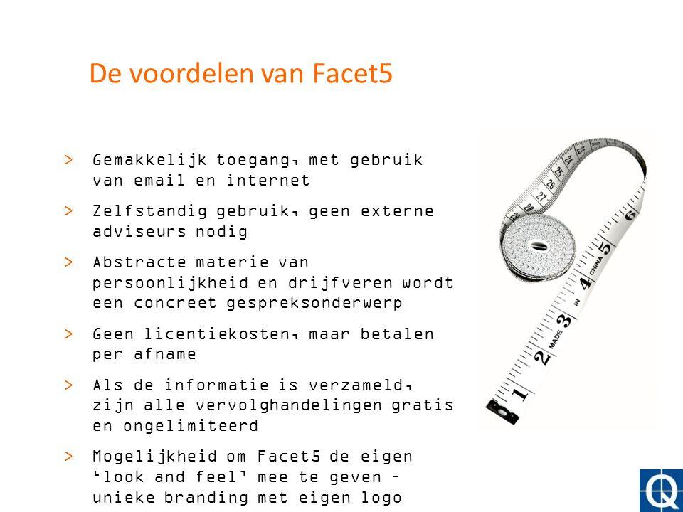 De voordelen van Facet5 >Gemakkelijk toegang, met gebruik van email en internet >Zelfstandig gebruik, geen externe adviseurs nodig >Abstracte materie