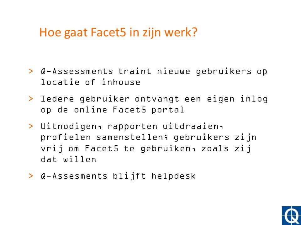 Hoe gaat Facet5 in zijn werk? >Q-Assessments traint nieuwe gebruikers op locatie of inhouse >Iedere gebruiker ontvangt een eigen inlog op de online Fa
