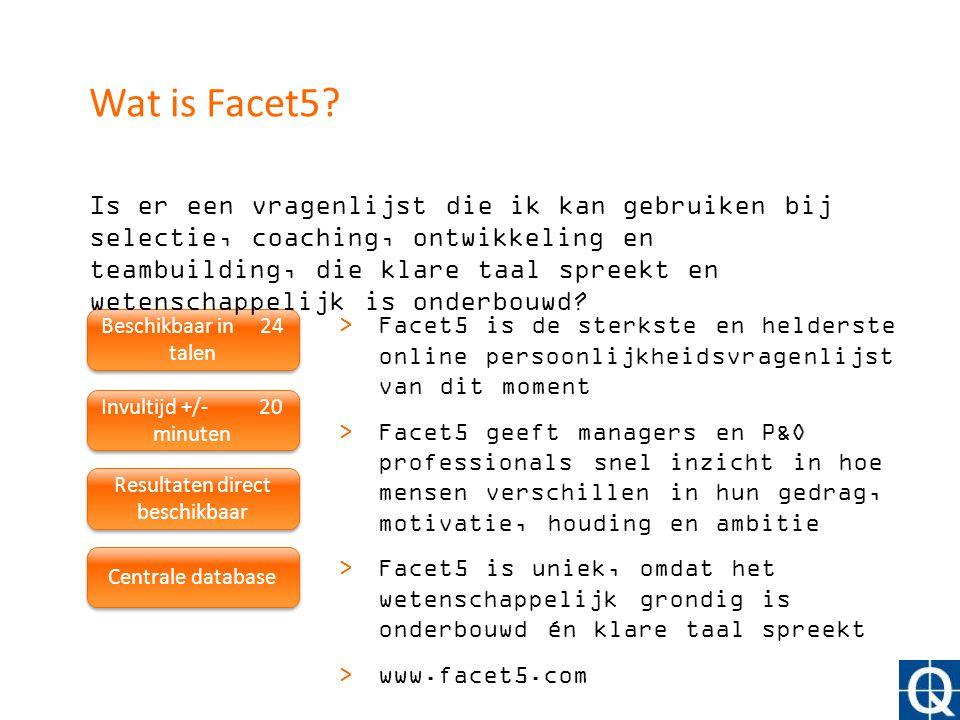 Beschikbaar in 24 talen Invultijd +/- 20 minuten Resultaten direct beschikbaar Centrale database >Facet5 is de sterkste en helderste online persoonlij