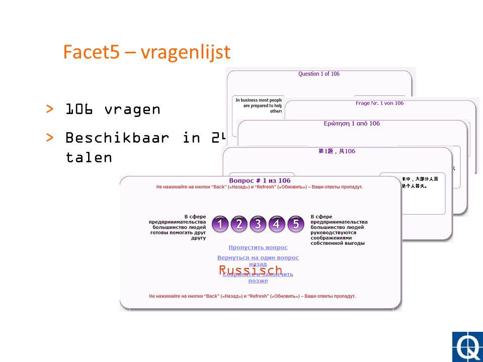 Facet5 – vragenlijst >106 vragen >Beschikbaar in 24 talen Engels German Grieks Chinees Russisch
