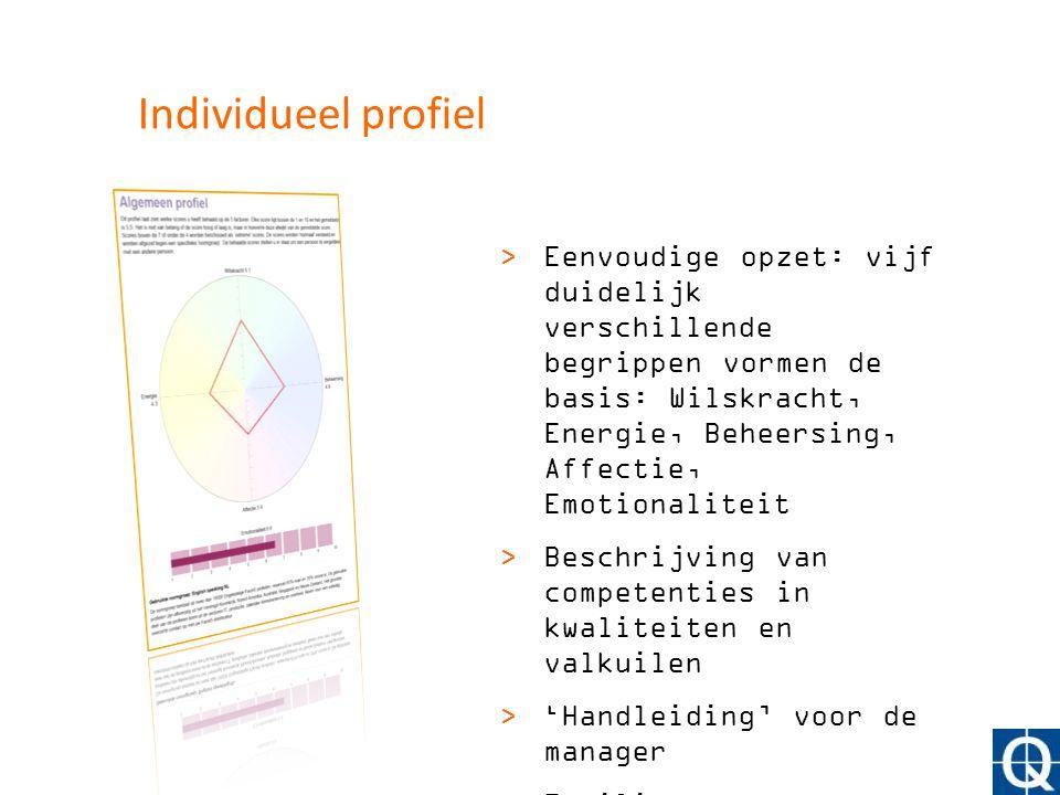 Individueel profiel >Eenvoudige opzet: vijf duidelijk verschillende begrippen vormen de basis: Wilskracht, Energie, Beheersing, Affectie, Emotionalite