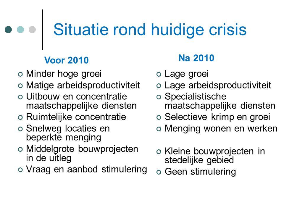 Situatie rond huidige crisis Lage groei Lage arbeidsproductiviteit Specialistische maatschappelijke diensten Selectieve krimp en groei Menging wonen e