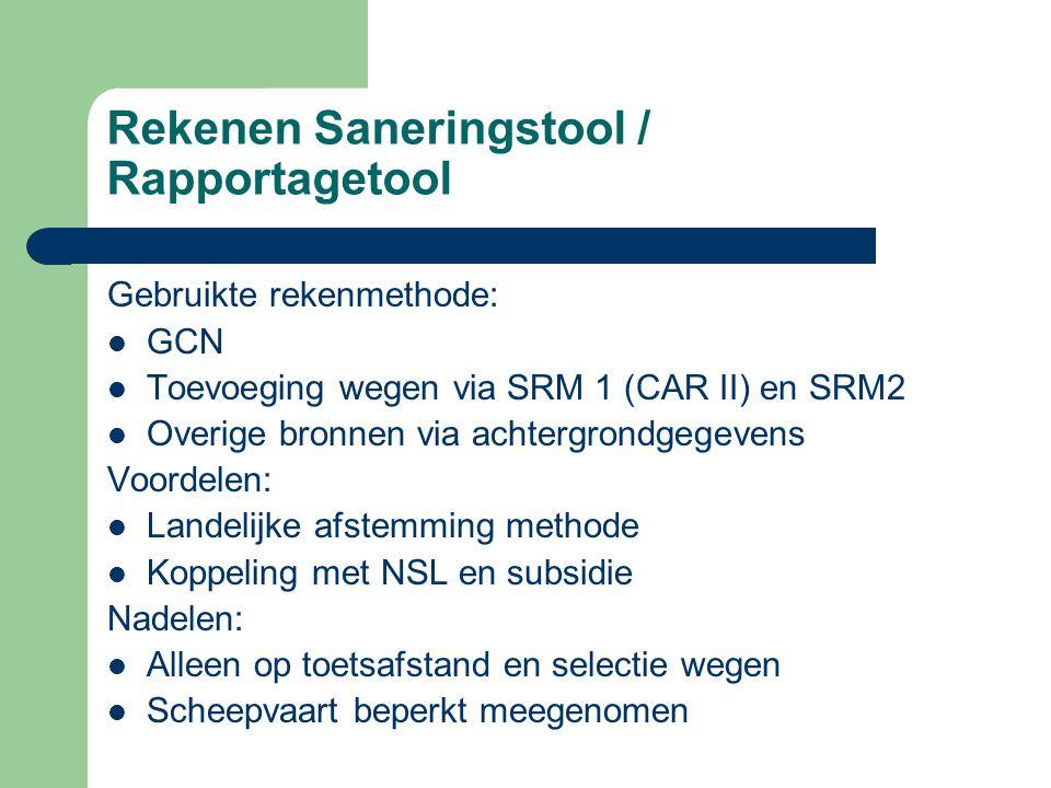 Rekenen Saneringstool / Rapportagetool Gebruikte rekenmethode:  GCN  Toevoeging wegen via SRM 1 (CAR II) en SRM2  Overige bronnen via achtergrondge