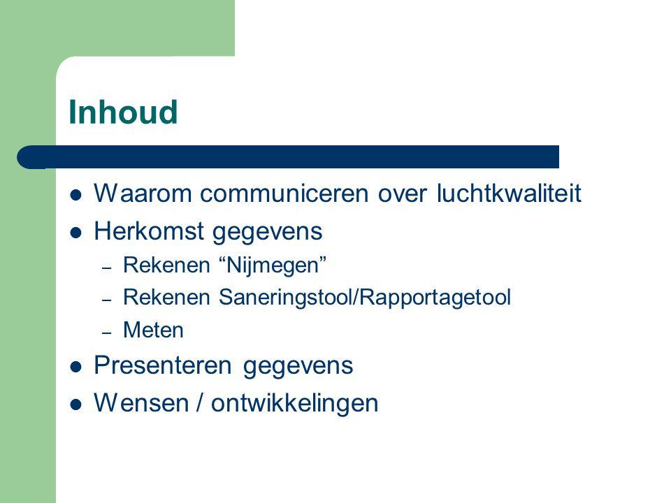 """Inhoud  Waarom communiceren over luchtkwaliteit  Herkomst gegevens – Rekenen """"Nijmegen"""" – Rekenen Saneringstool/Rapportagetool – Meten  Presenteren"""