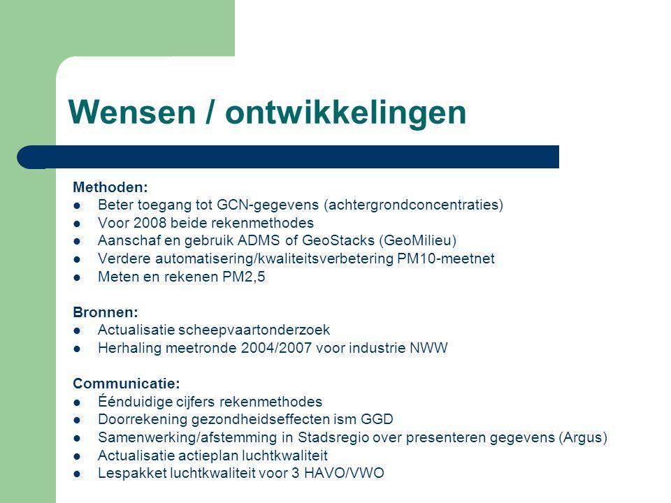 Wensen / ontwikkelingen Methoden:  Beter toegang tot GCN-gegevens (achtergrondconcentraties)  Voor 2008 beide rekenmethodes  Aanschaf en gebruik AD