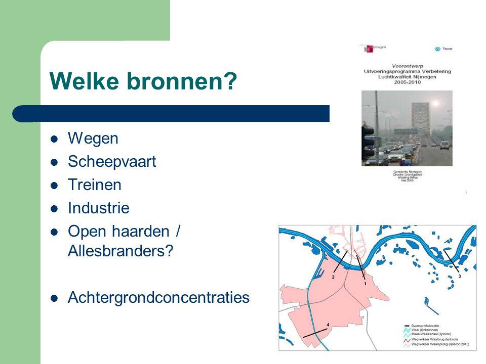 Welke bronnen?  Wegen  Scheepvaart  Treinen  Industrie  Open haarden / Allesbranders?  Achtergrondconcentraties