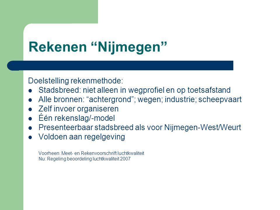 "Rekenen ""Nijmegen"" Doelstelling rekenmethode:  Stadsbreed: niet alleen in wegprofiel en op toetsafstand  Alle bronnen: ""achtergrond""; wegen; industr"