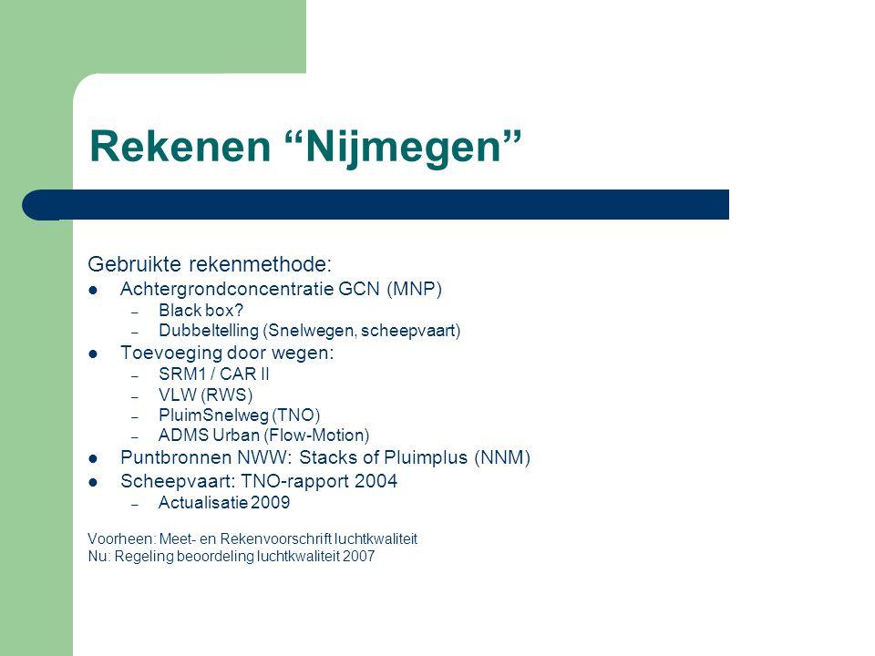 """Rekenen """"Nijmegen"""" Gebruikte rekenmethode:  Achtergrondconcentratie GCN (MNP) – Black box? – Dubbeltelling (Snelwegen, scheepvaart)  Toevoeging door"""