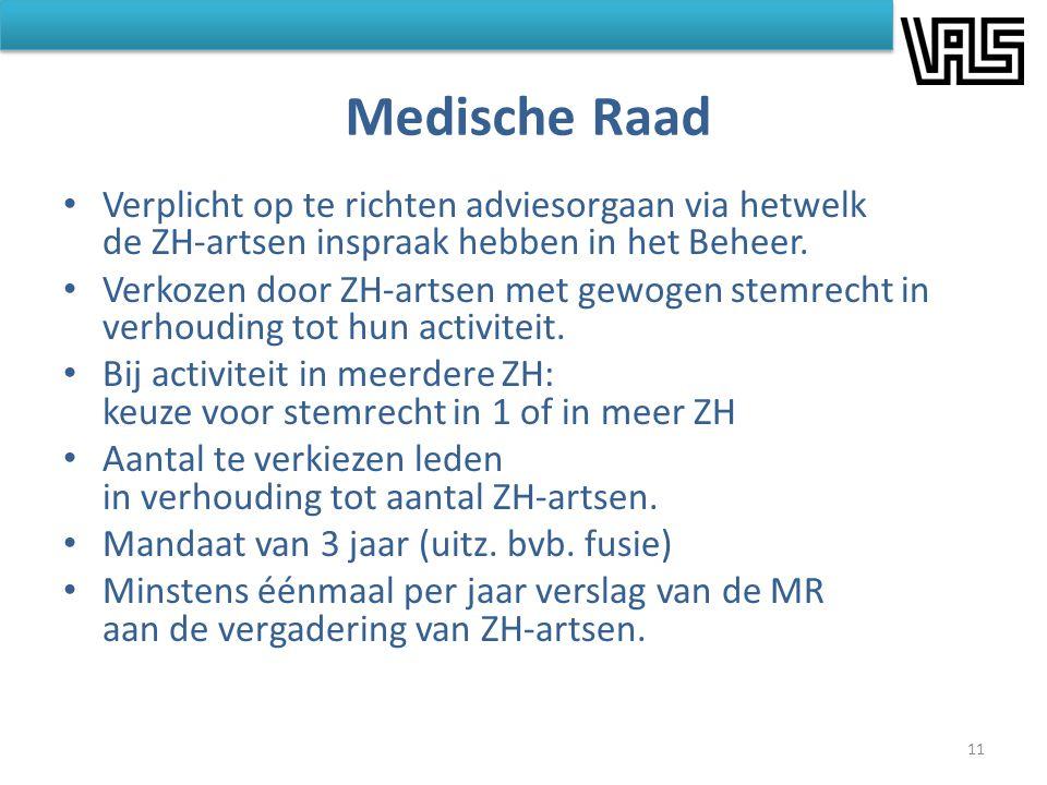 Medische Raad • Verplicht op te richten adviesorgaan via hetwelk de ZH-artsen inspraak hebben in het Beheer. • Verkozen door ZH-artsen met gewogen ste