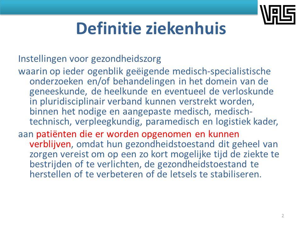 Definitie ziekenhuis Instellingen voor gezondheidszorg waarin op ieder ogenblik geëigende medisch-specialistische onderzoeken en/of behandelingen in h