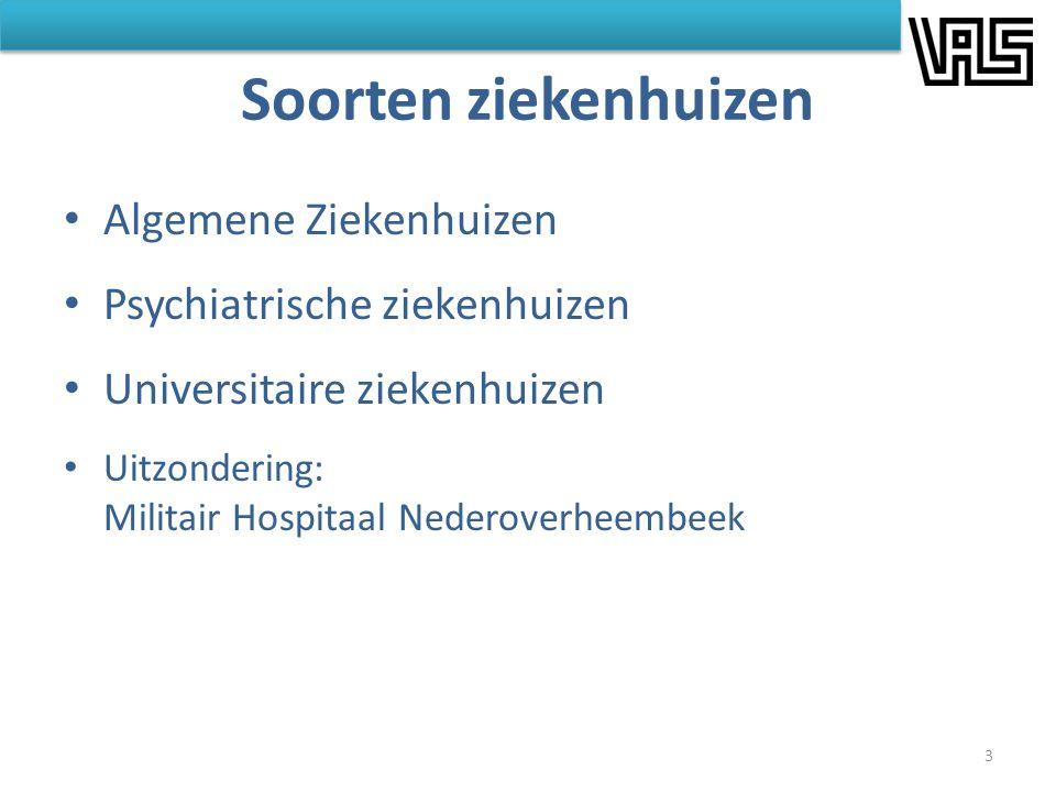 Soorten ziekenhuizen • Algemene Ziekenhuizen • Psychiatrische ziekenhuizen • Universitaire ziekenhuizen • Uitzondering: Militair Hospitaal Nederoverhe