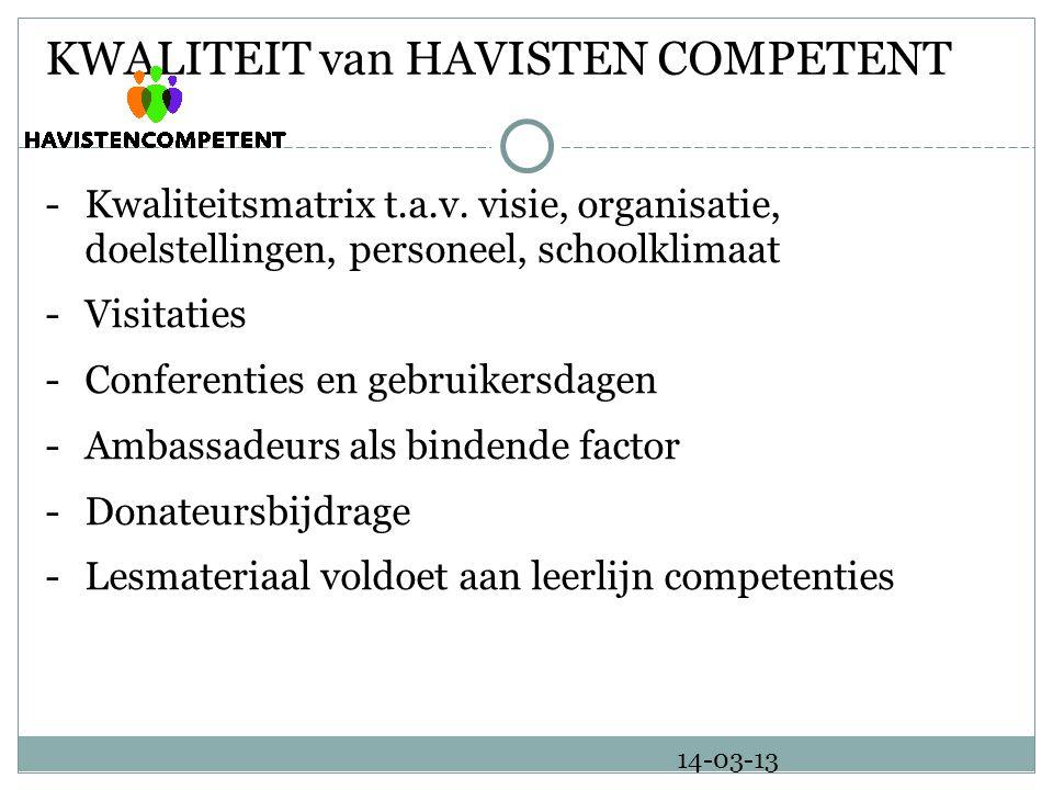 KWALITEIT van HAVISTEN COMPETENT -Kwaliteitsmatrix t.a.v.