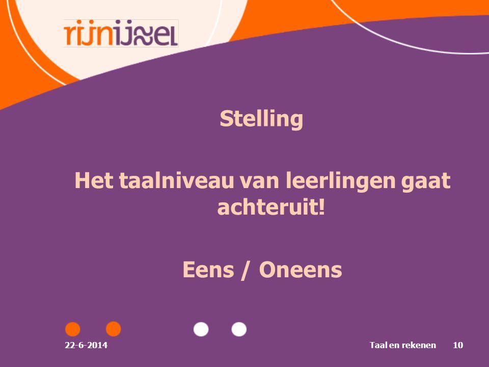 22-6-2014Taal en rekenen10 Stelling Het taalniveau van leerlingen gaat achteruit! Eens / Oneens