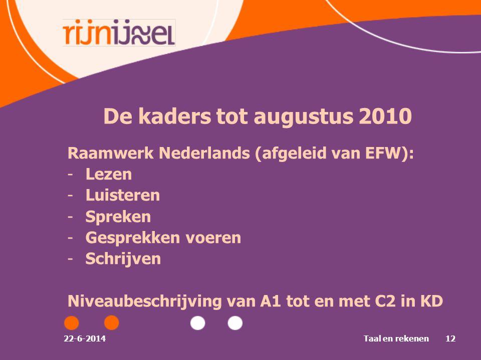 22-6-2014Taal en rekenen12 De kaders tot augustus 2010 Raamwerk Nederlands (afgeleid van EFW): -Lezen -Luisteren -Spreken -Gesprekken voeren -Schrijven Niveaubeschrijving van A1 tot en met C2 in KD