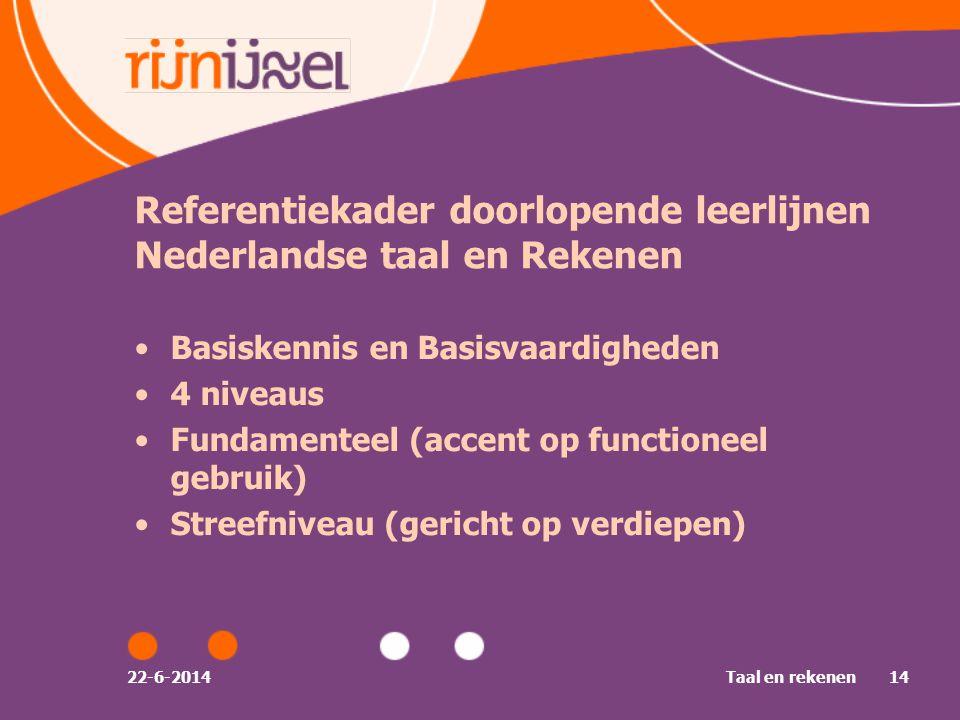 22-6-2014Taal en rekenen14 Referentiekader doorlopende leerlijnen Nederlandse taal en Rekenen •Basiskennis en Basisvaardigheden •4 niveaus •Fundamenteel (accent op functioneel gebruik) •Streefniveau (gericht op verdiepen)