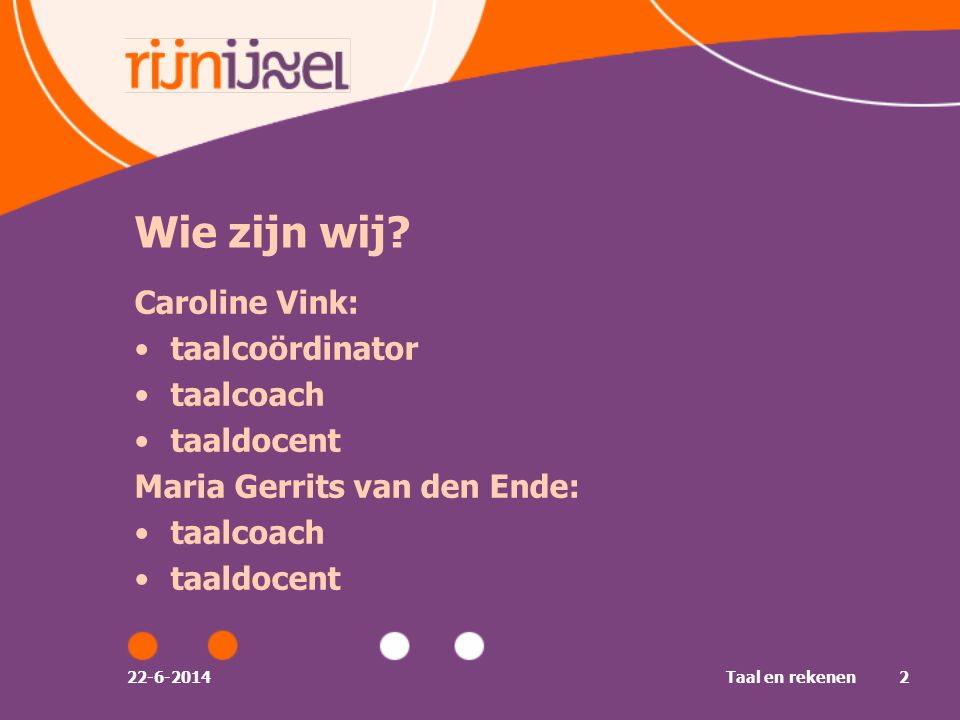 22-6-2014Taal en rekenen23 Voorwaarden voor taalontwikkeling •Taalaanbod / input •Taalgebruik / oefening •Feedback / bijsturing