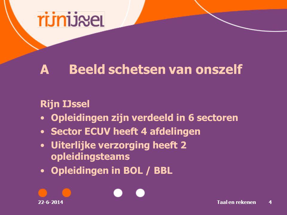 ABeeld schetsen van onszelf Rijn IJssel •Opleidingen zijn verdeeld in 6 sectoren •Sector ECUV heeft 4 afdelingen •Uiterlijke verzorging heeft 2 opleidingsteams •Opleidingen in BOL / BBL 22-6-2014Taal en rekenen4