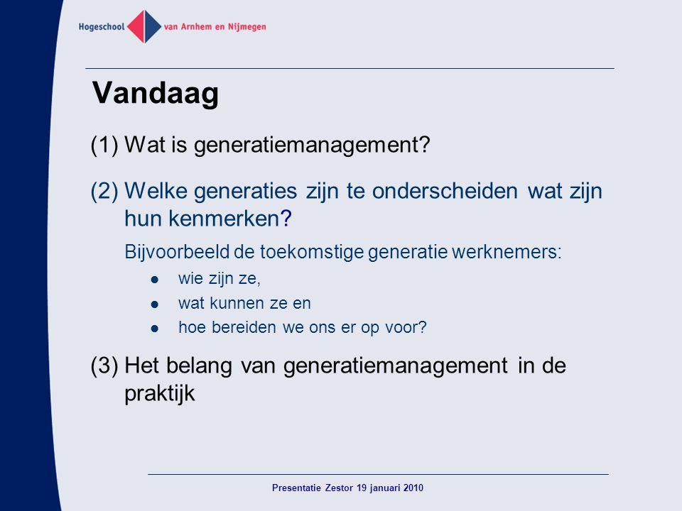 Vandaag (1)Wat is generatiemanagement? (2) Welke generaties zijn te onderscheiden wat zijn hun kenmerken? Bijvoorbeeld de toekomstige generatie werkne