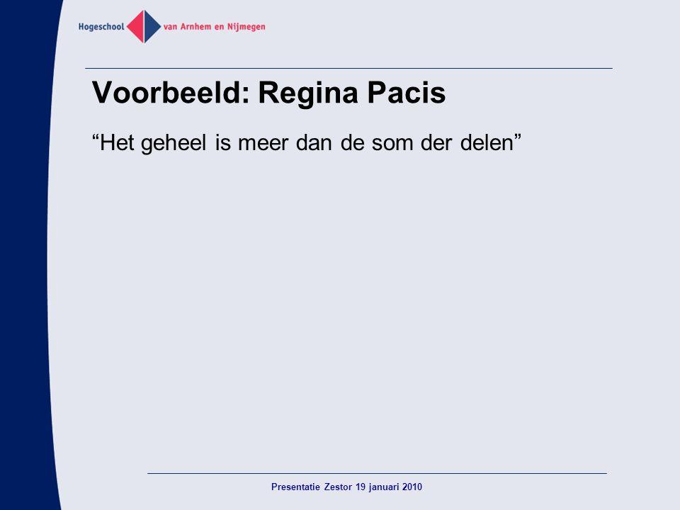 """Voorbeeld: Regina Pacis """"Het geheel is meer dan de som der delen"""" Presentatie Zestor 19 januari 2010"""