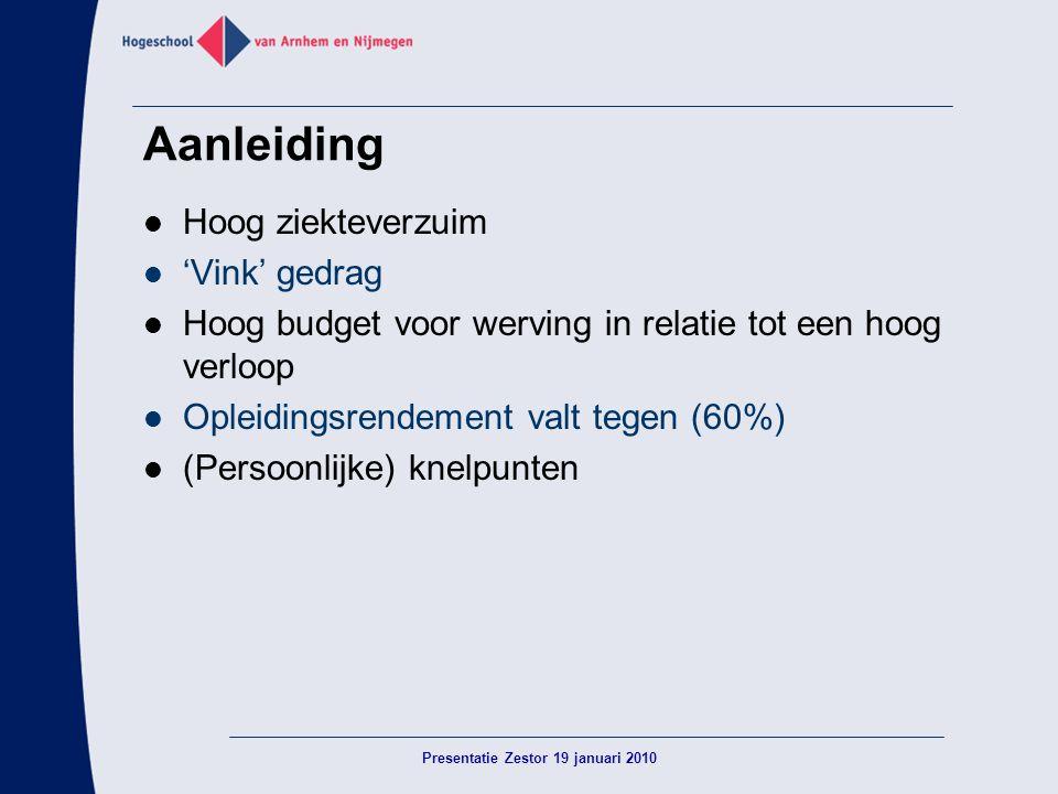 Aanleiding  Hoog ziekteverzuim  'Vink' gedrag  Hoog budget voor werving in relatie tot een hoog verloop  Opleidingsrendement valt tegen (60%)  (P