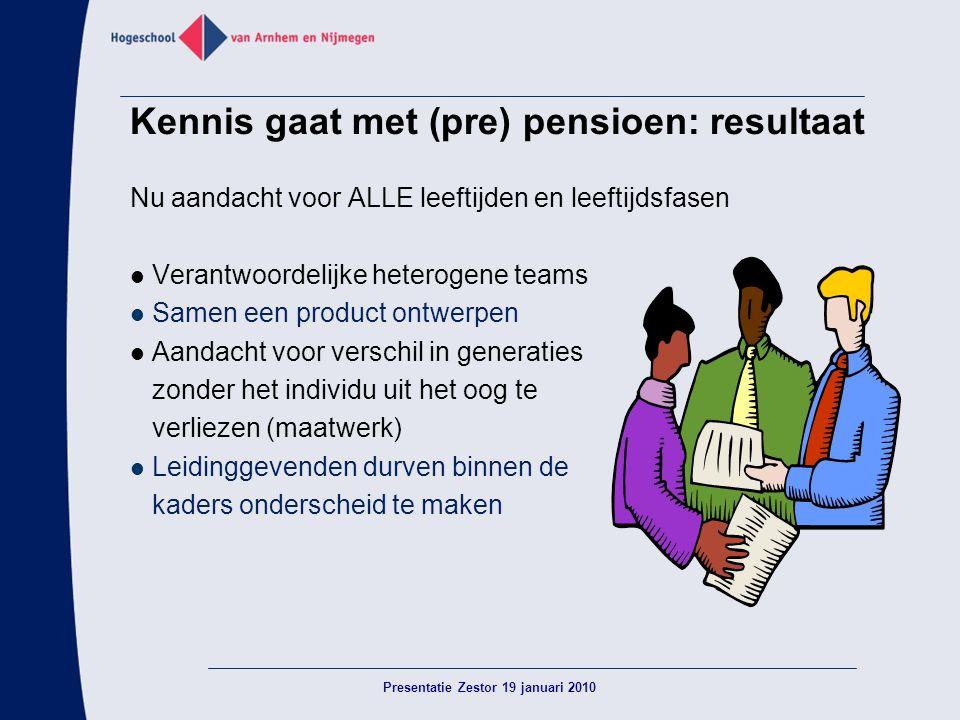 Kennis gaat met (pre) pensioen: resultaat Nu aandacht voor ALLE leeftijden en leeftijdsfasen  Verantwoordelijke heterogene teams  Samen een product