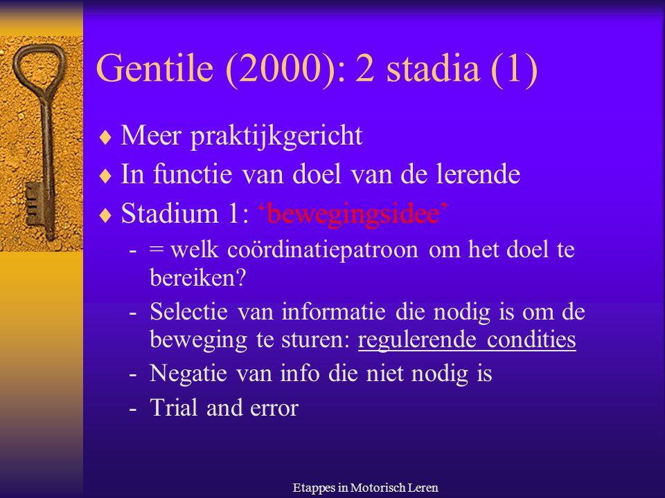 Etappes in Motorisch Leren Gentile (2000): 2 stadia (2)  Stadium 2: fixatie/diversificatie  Sterk afhankelijk van doel van de taak: open vs.
