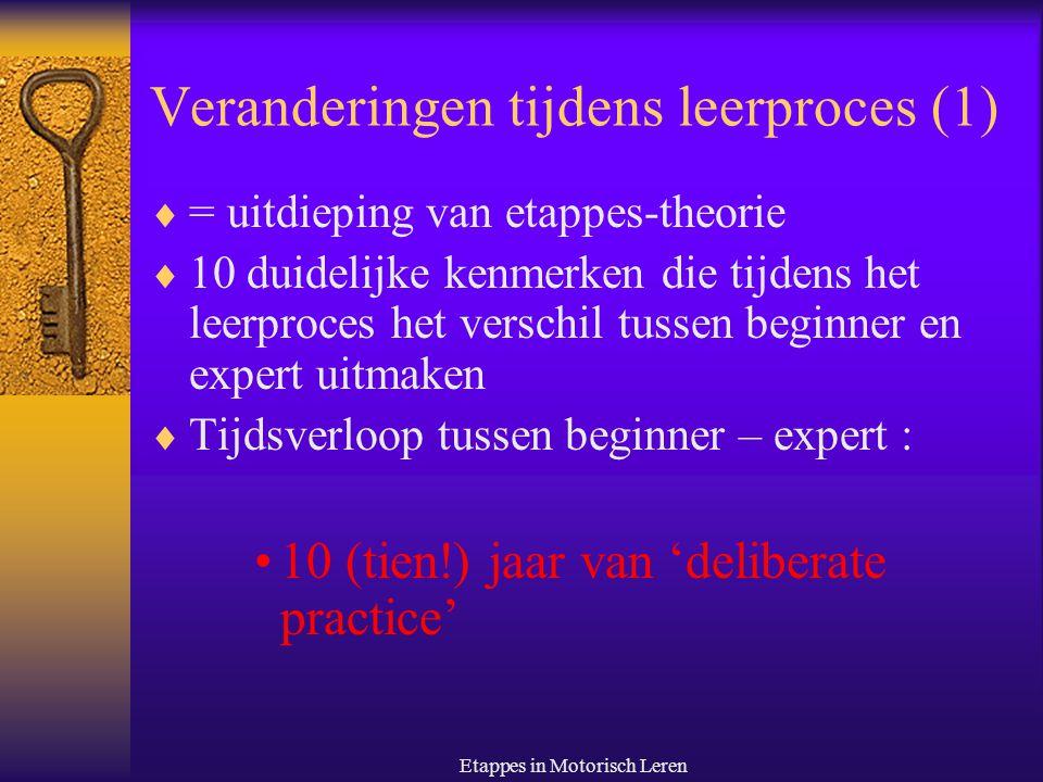 Etappes in Motorisch Leren Veranderingen tijdens leerproces (2) 1.
