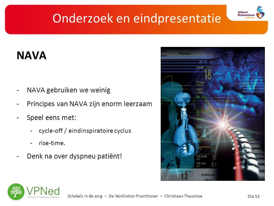 Onderzoek en eindpresentatie NAVA -NAVA gebruiken we weinig -Principes van NAVA zijn enorm leerzaam -Speel eens met: -cycle-off / eindinspiratoire cyc