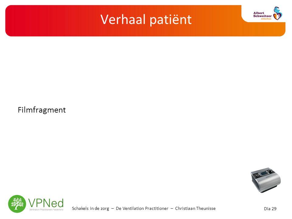 Verhaal patiënt Filmfragment Schakels in de zorg – De Ventilation Practitioner – Christiaan Theunisse Dia 29