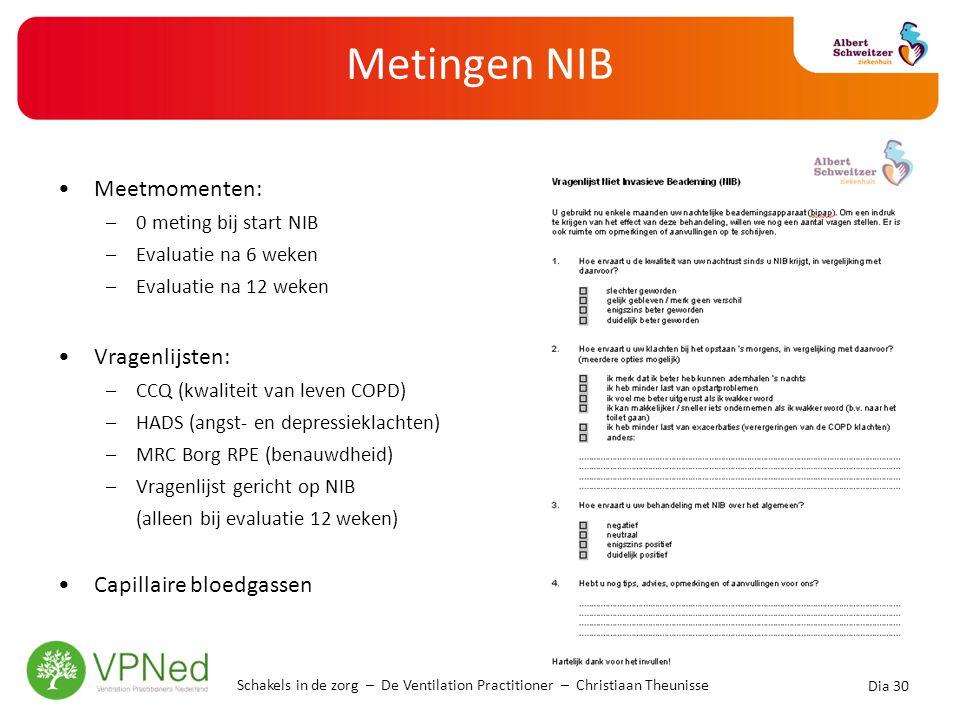 Metingen NIB •Meetmomenten: –0 meting bij start NIB –Evaluatie na 6 weken –Evaluatie na 12 weken •Vragenlijsten: –CCQ (kwaliteit van leven COPD) –HADS
