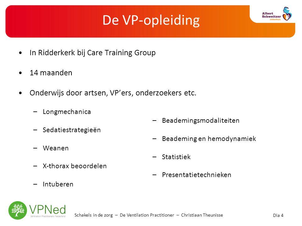 De VP-opleiding •In Ridderkerk bij Care Training Group •14 maanden •Onderwijs door artsen, VP'ers, onderzoekers etc. –Longmechanica –Sedatiestrategieë
