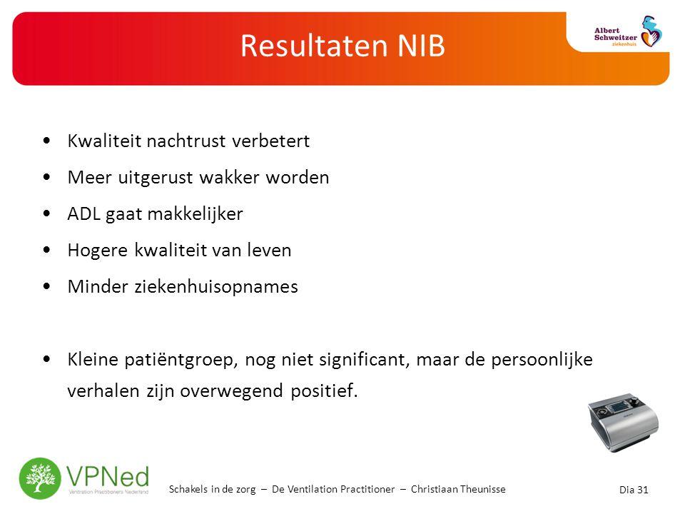Resultaten NIB •Kwaliteit nachtrust verbetert •Meer uitgerust wakker worden •ADL gaat makkelijker •Hogere kwaliteit van leven •Minder ziekenhuisopname