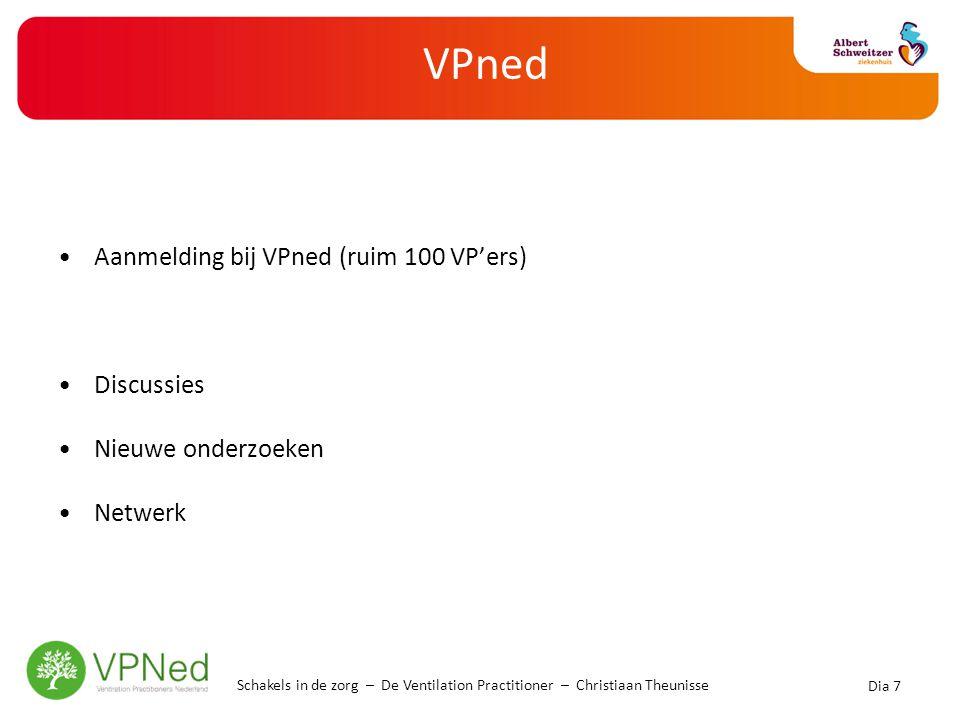 VPned •Aanmelding bij VPned (ruim 100 VP'ers) •Discussies •Nieuwe onderzoeken •Netwerk Dia 7 Schakels in de zorg – De Ventilation Practitioner – Chris