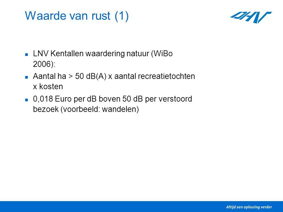 Waarde van rust (1)  LNV Kentallen waardering natuur (WiBo 2006):  Aantal ha > 50 dB(A) x aantal recreatietochten x kosten  0,018 Euro per dB boven 50 dB per verstoord bezoek (voorbeeld: wandelen)