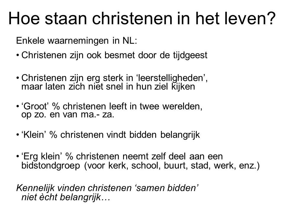 Hoe staan christenen in het leven? Enkele waarnemingen in NL: •Christenen zijn ook besmet door de tijdgeest •Christenen zijn erg sterk in 'leerstellig