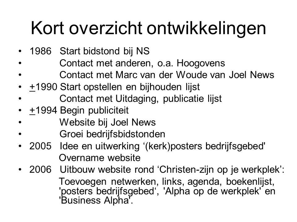 Kort overzicht ontwikkelingen •1986 Start bidstond bij NS • Contact met anderen, o.a. Hoogovens • Contact met Marc van der Woude van Joel News •+1990