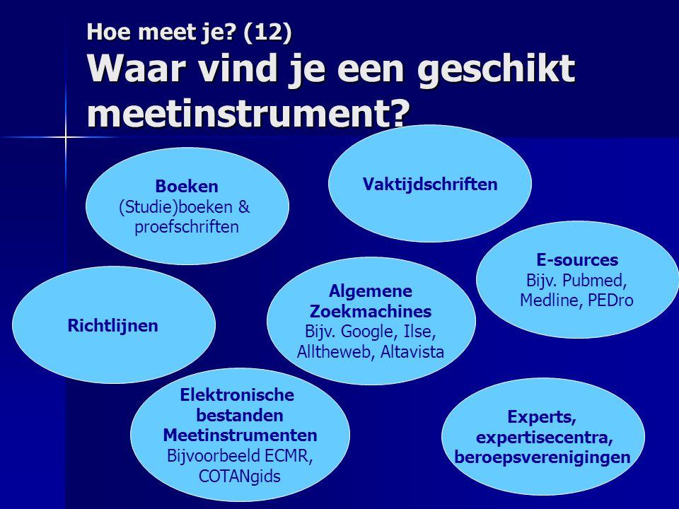 Hoe meet je? (12) Waar vind je een geschikt meetinstrument? Boeken (Studie)boeken & proefschriften Algemene Zoekmachines Bijv. Google, Ilse, Alltheweb