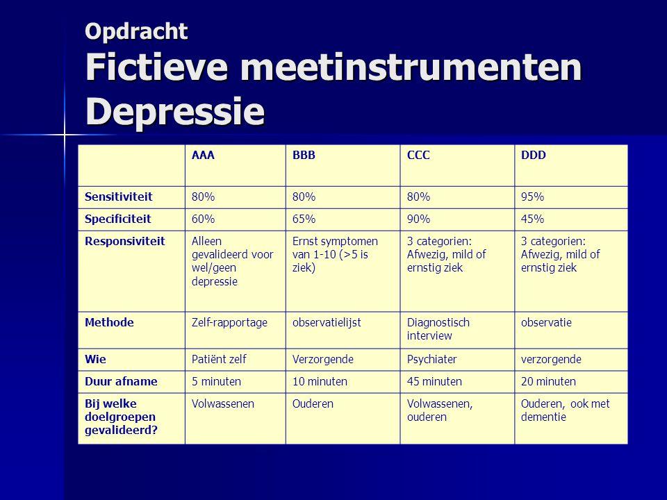 Opdracht Fictieve meetinstrumenten Depressie AAABBBCCCDDD Sensitiviteit80% 95% Specificiteit60%65%90%45% ResponsiviteitAlleen gevalideerd voor wel/gee