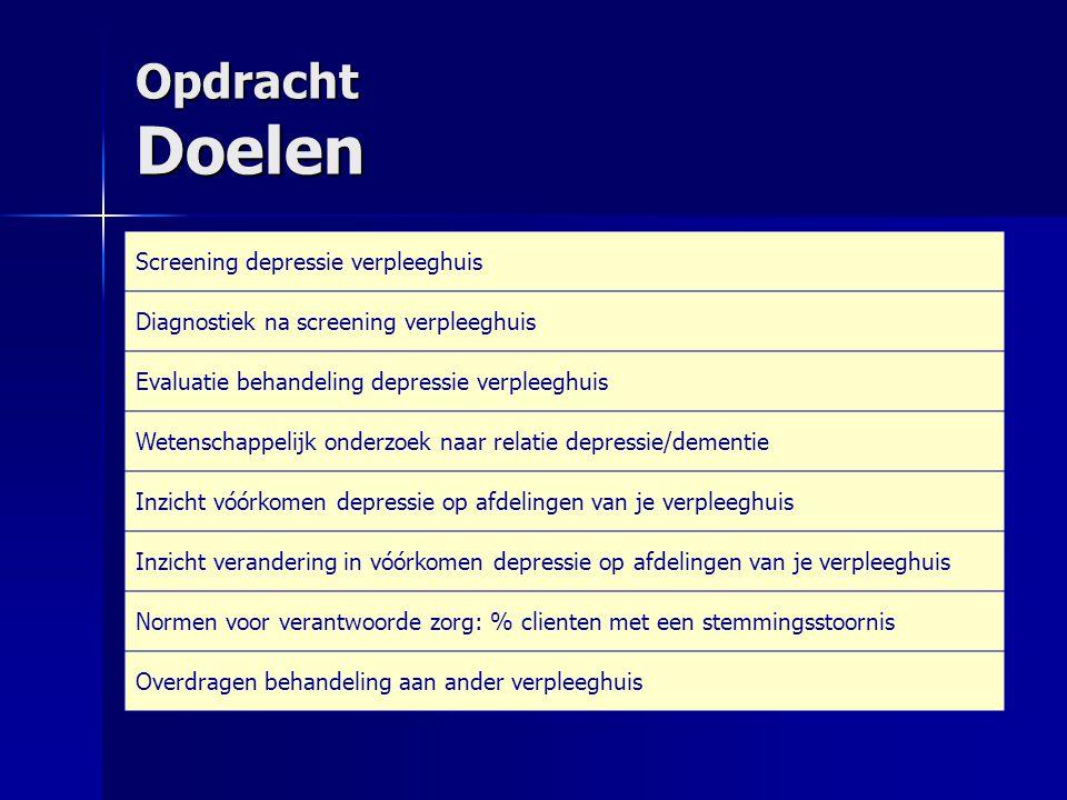 Opdracht Doelen Screening depressie verpleeghuis Diagnostiek na screening verpleeghuis Evaluatie behandeling depressie verpleeghuis Wetenschappelijk o