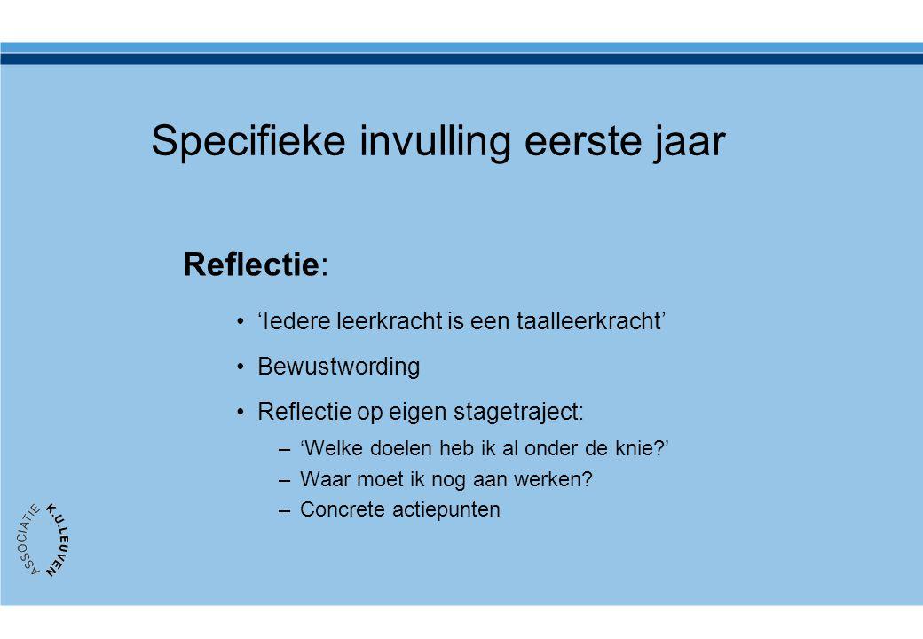 Specifieke invulling eerste jaar Reflectie: •'Iedere leerkracht is een taalleerkracht' •Bewustwording •Reflectie op eigen stagetraject: –'Welke doelen