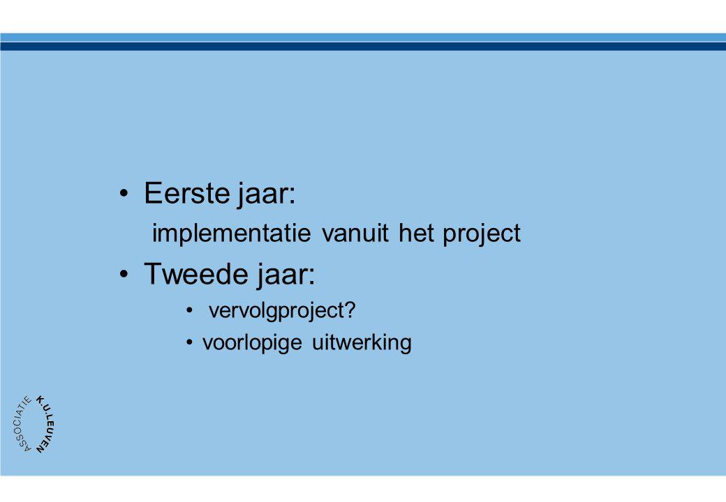 •Eerste jaar: implementatie vanuit het project •Tweede jaar: • vervolgproject? •voorlopige uitwerking