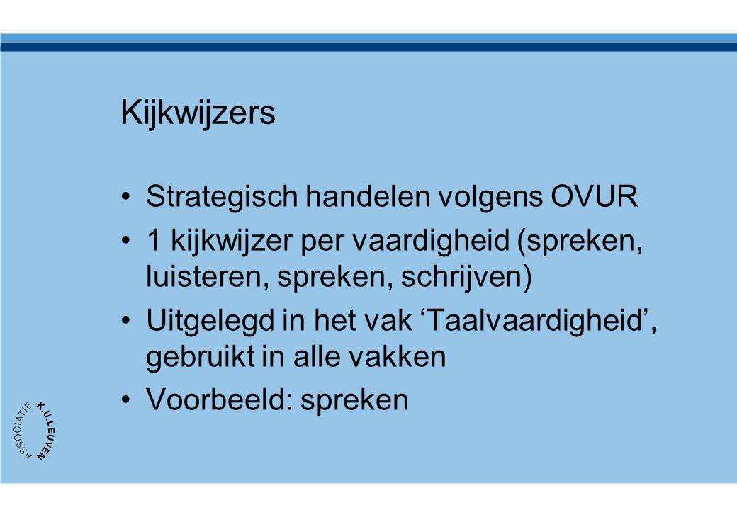 Kijkwijzers •Strategisch handelen volgens OVUR •1 kijkwijzer per vaardigheid (spreken, luisteren, spreken, schrijven) •Uitgelegd in het vak 'Taalvaard