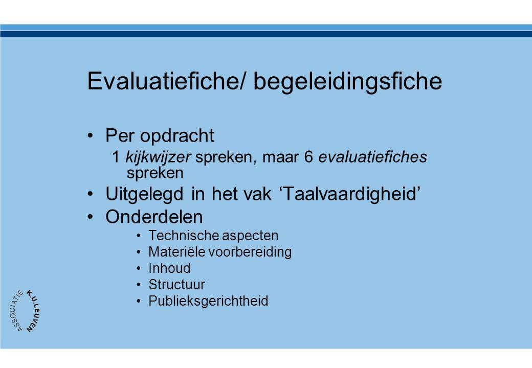 Evaluatiefiche/ begeleidingsfiche •Per opdracht 1 kijkwijzer spreken, maar 6 evaluatiefiches spreken •Uitgelegd in het vak 'Taalvaardigheid' •Onderdel