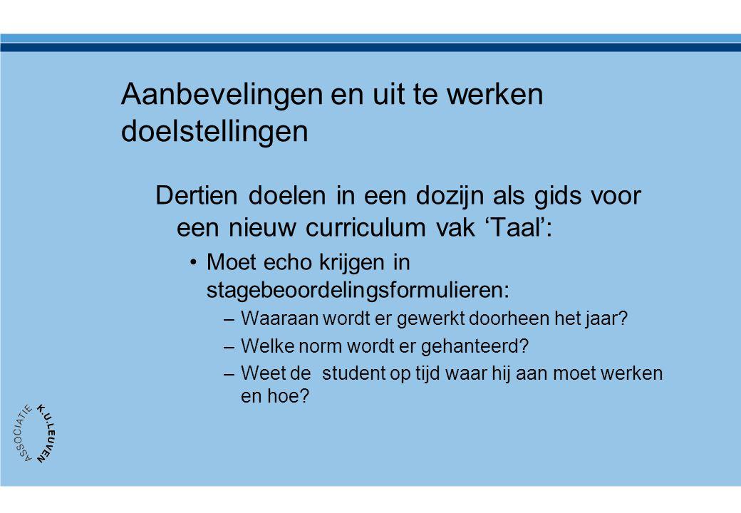 Aanbevelingen en uit te werken doelstellingen Dertien doelen in een dozijn als gids voor een nieuw curriculum vak 'Taal': •Moet echo krijgen in stageb