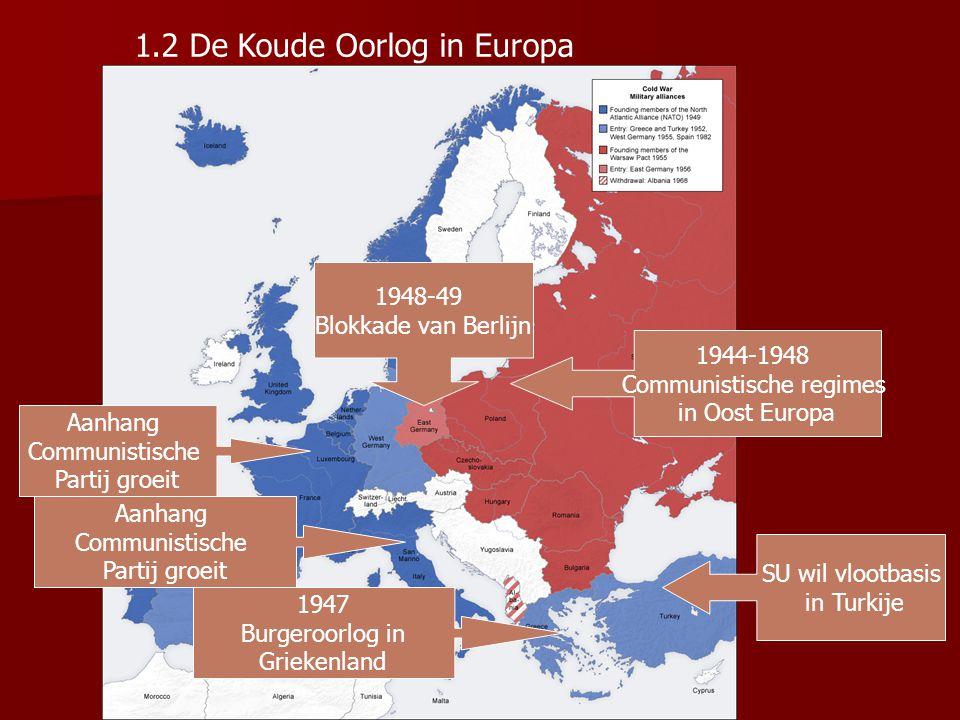 Amerikanen proberen opmars communisme in Europa tegen te houden door financiële hulp bij de wederopbouw aan te bieden → Marshallplan Amerikanen zien i