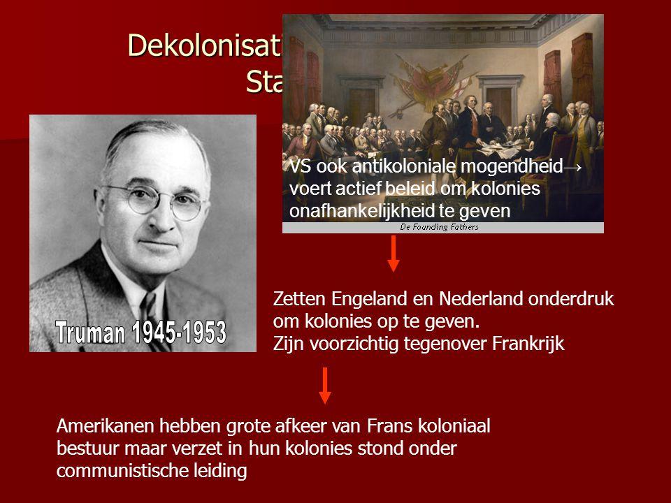 Dekolonisatie en Koude Oorlog; Standpunt SU SU aanvankelijk weinig aandacht voor dekolonisatie → gericht op Europa. Weinig vertrouwen in communistisch