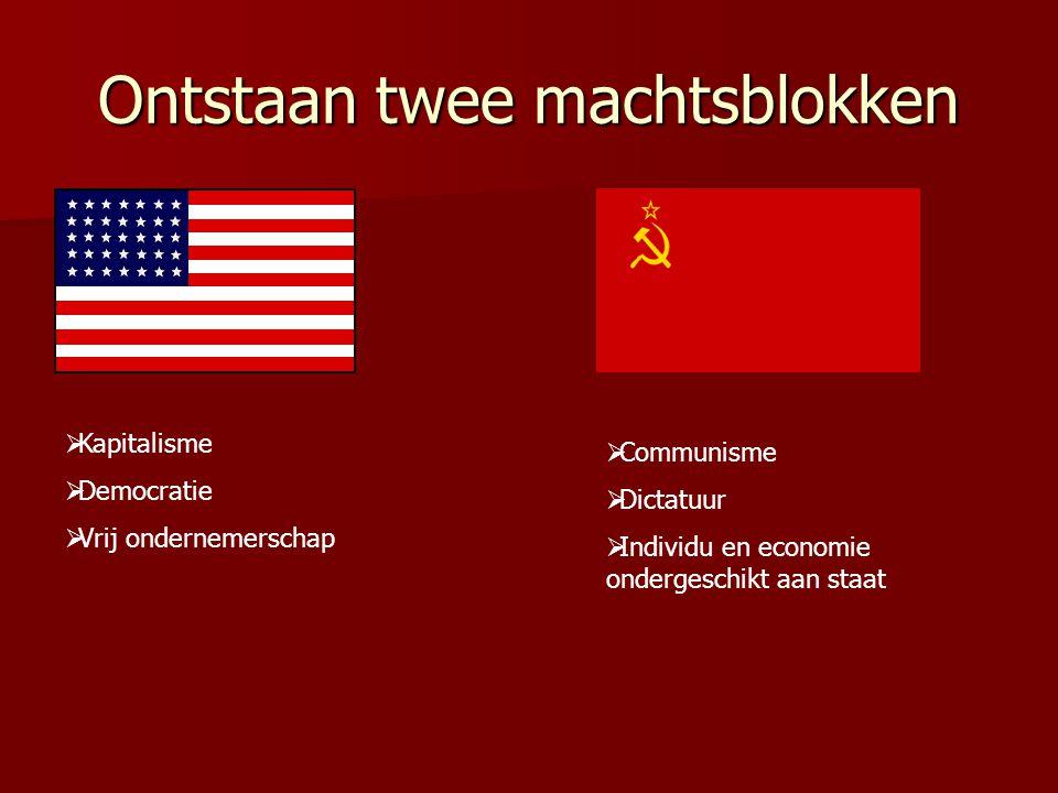 Ontstaan twee machtsblokken  Kapitalisme  Democratie  Vrij ondernemerschap  Communisme  Dictatuur  Individu en economie ondergeschikt aan staat