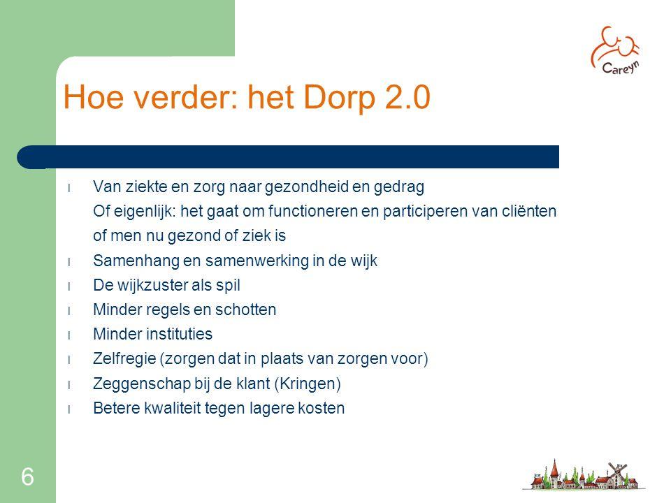 6 Hoe verder: het Dorp 2.0 l Van ziekte en zorg naar gezondheid en gedrag Of eigenlijk: het gaat om functioneren en participeren van cliënten of men n