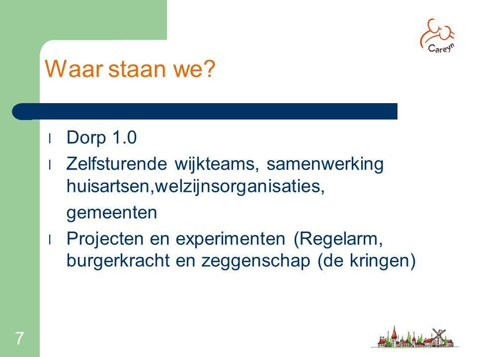 7 Waar staan we? l Dorp 1.0 l Zelfsturende wijkteams, samenwerking huisartsen,welzijnsorganisaties, gemeenten l Projecten en experimenten (Regelarm, b
